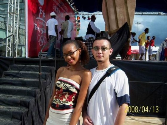 An African and Chinese couple.