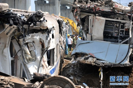 Wreckage from the 7.23 Wenzhou high speed train crash.