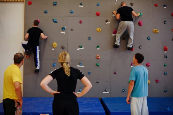 Inmates are taking part to a climbing session during the time they regularly spend carrying out physical exercise and learning about the human body inside the luxurious Halden Fengsel, (prison) near Oslo.
