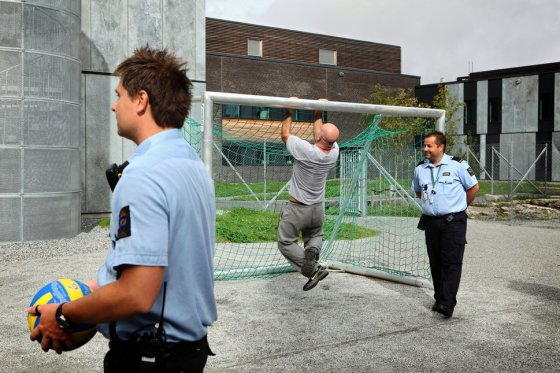 Guards (left and right) are regularly spending time with inmates in various open areas where games like soccer, volleyball and basketball are organised in mixed teams of inmates, guards and other prison staff in the luxurious Halden Fengsel, (prison) near Oslo.