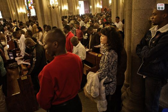 Africans at mass in a Catholic Church in Guangzhou, China.