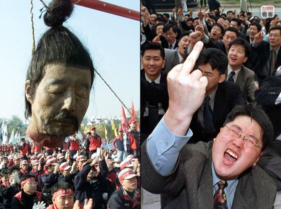 A suspended decapitated head as Korean workers protest industrial restructuring policies in Seoul, Korea.