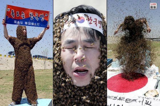 A Korean nationalist covers himself with 187k bees to represent the 187k square meters of the Liancourt Rocks that belong to Korea.