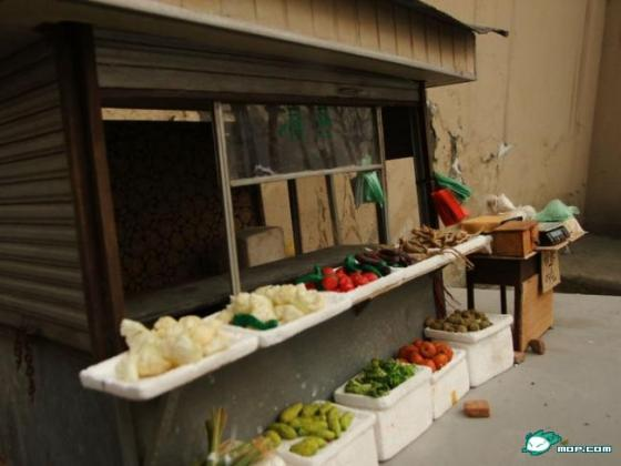 An incredibly realistic small scale Chinese vegetable stall.