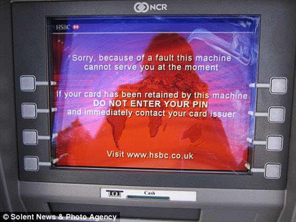 A malfunctioning HSBC ATM machine in Milford-on-Sea in the UK was dispensing double the cash withdrawn.