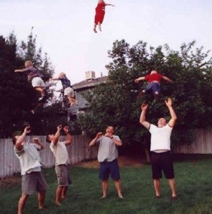 Fathers threw babies in the air