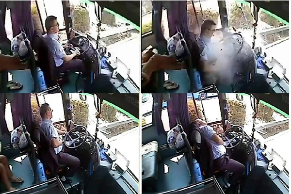 A bus driver struck by a flying piece of metal while driving sacrifices his life to stop the bus and evacuate passengers, earning him accolades around the country