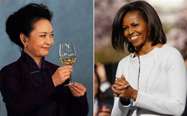First Ladies: China's Peng Liyuan and the United States' Michelle Obama.
