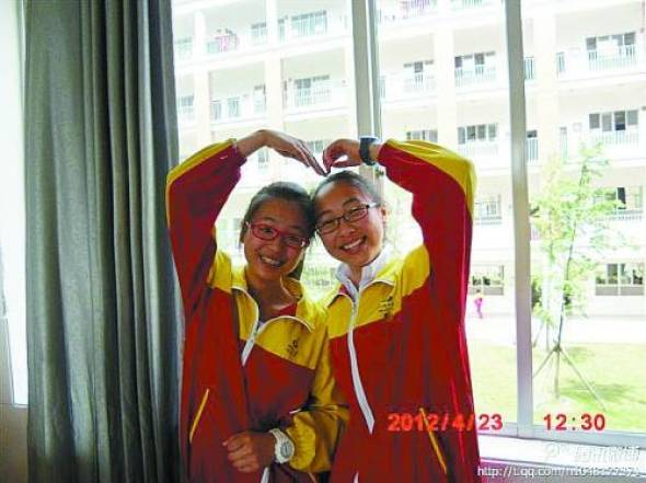 The two Chinese school girls who perished in the June 7th San Francisco plane crash, Ye Mengyuan on the left, Wang Linjia on the right.