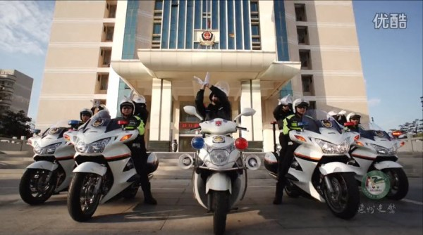 Chinese traffic police on police motorcycles from the city of Huizhou release a dance video on December 2nd to promote traffic safety awareness.