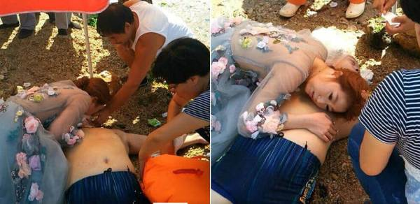 Photoshoot Bride Gives CPR To Unconscious Stranger