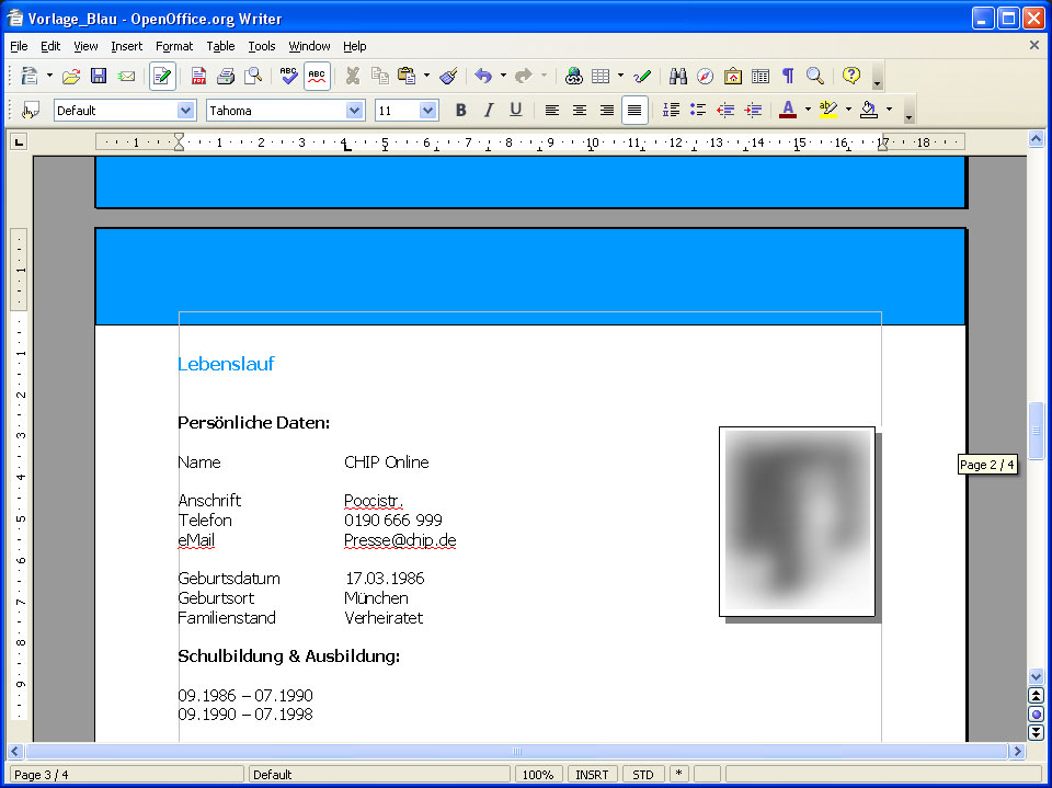 Bewerbung Vorlage Für Openoffice - Download - Chip