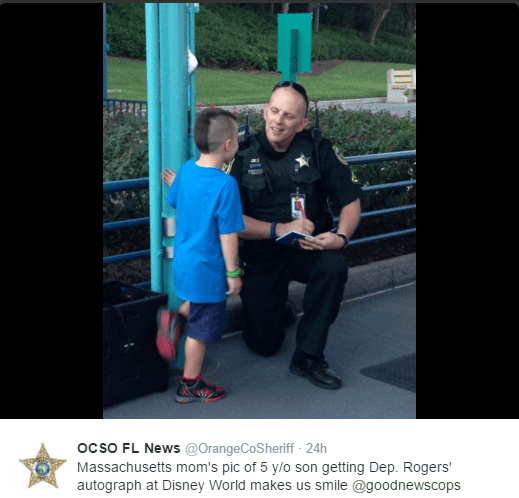 Boy gets Autograph of His Real Hero at Disney World