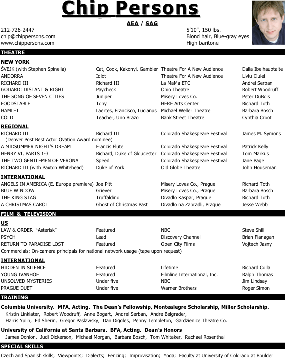 Template Of Resume Cv – Acting Cv Template