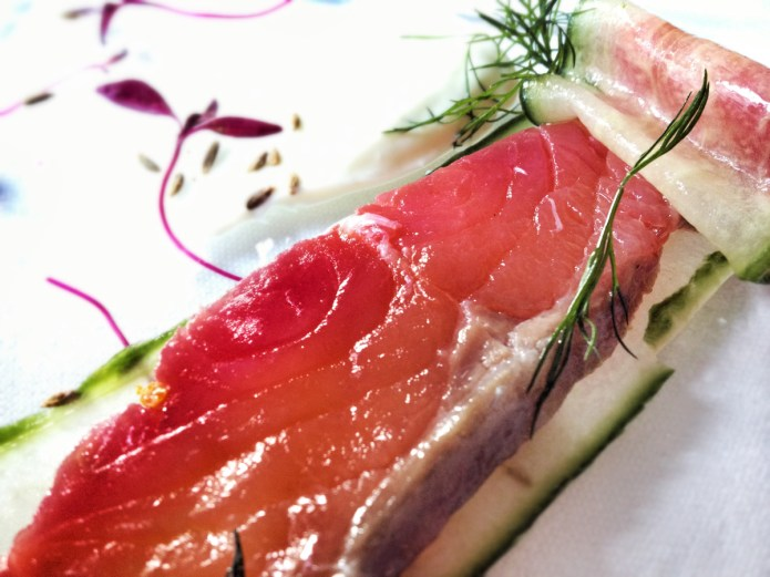 Chiswickish Food Pron - Restaurant Blog - Unwrapped salmon marinated in citrus with fresh cucumber, light wasabi mayo, dill