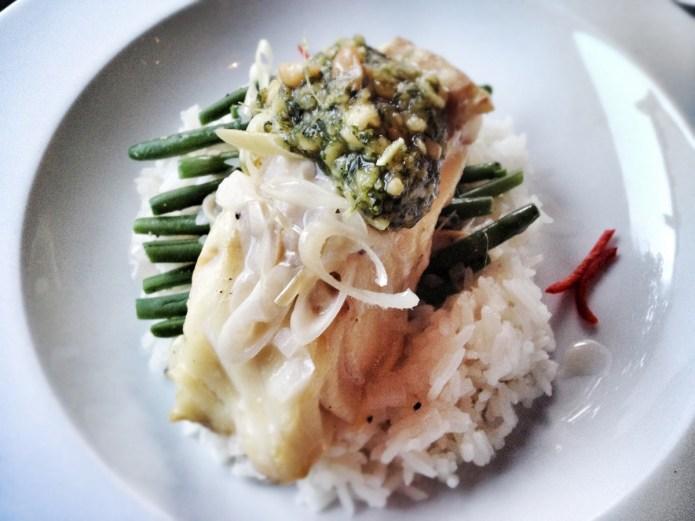 Chiswickish - Quantus - Lime & coconut fish, chilli, ginger, cilantro & peanut gremolata, green bean and jasmine rice