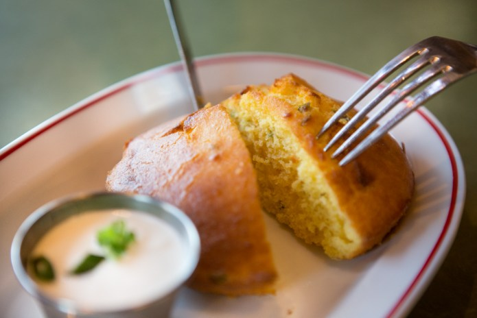 Jalapeno Corn Bread,  Sour Cream, and Spring Onion
