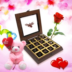 Lovable Chocolate Collection with Rose and Love Teddy