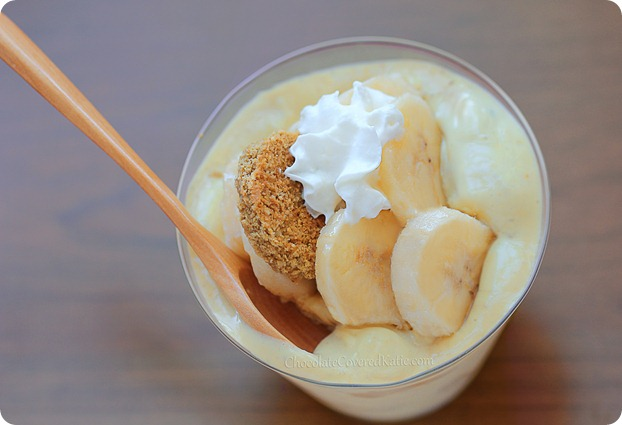Secret Ingredient Banana Pudding - The Healthy Version: http://chocolatecoveredkatie.com/2013/07/11/banana-pudding-recipe-healthy/