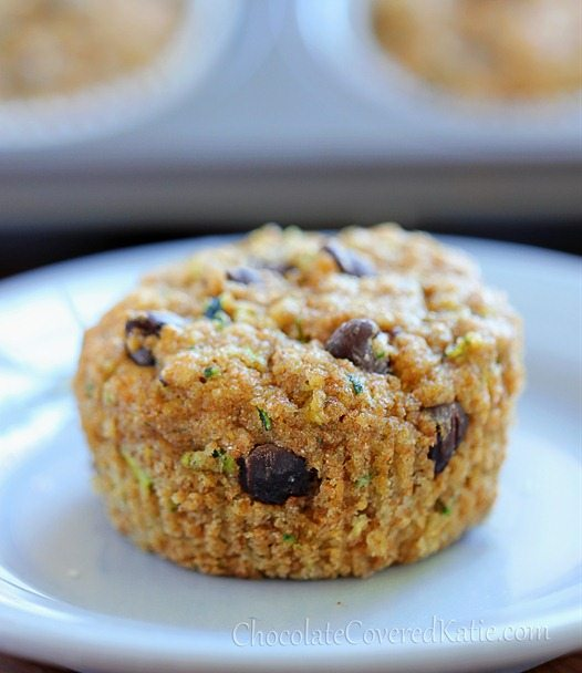 Chocolate Chip Zucchini Muffins - super HEALTHY and sweet and delicious!