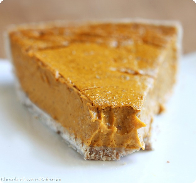 Healthy Pumpkin Pie- from @choccoveredkt… This healthy pumpkin pie will satisfy your family's cravings without sabotaging your health or making you feel weighed-down. It's so creamy and delicious, no one would even guess it's healthy! (The recipe is reader approved / see comments under the post) http://chocolatecoveredkatie.com/2013/11/04/healthy-pumpkin-pie-recipe/
