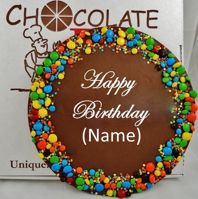 Custom Chocolate Pizza Birthday Wishes add a name