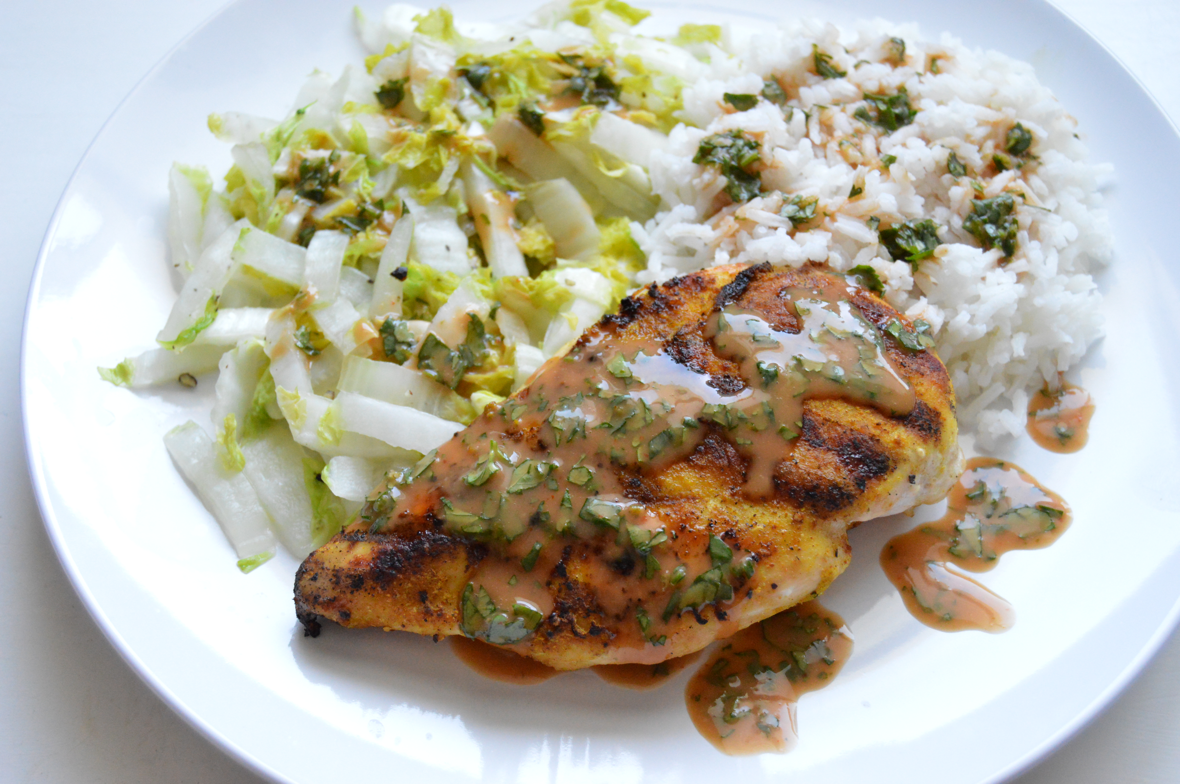Grilled Curry Ginger Chicken with Creamy Sriracha Sauce