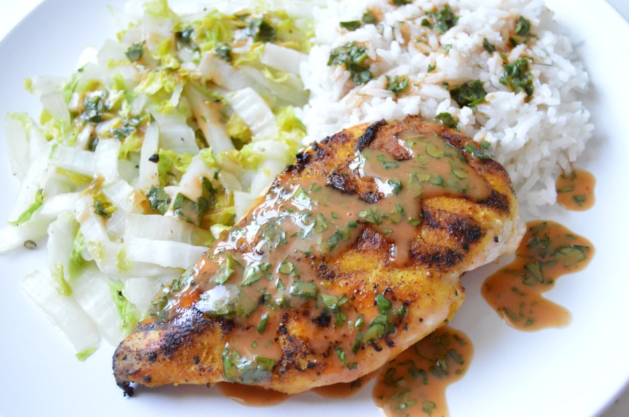 Grilled Curry Ginger Chicken with Creamy Sriracha Suace