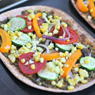 farmers market roasted vegetable flatbread pizza