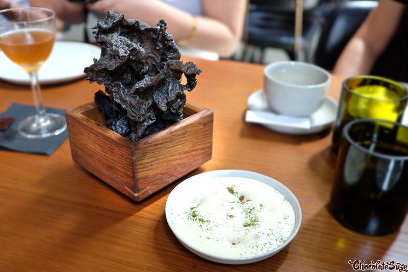 Squid Ink crackers at Kensington Street Social, Chippendale