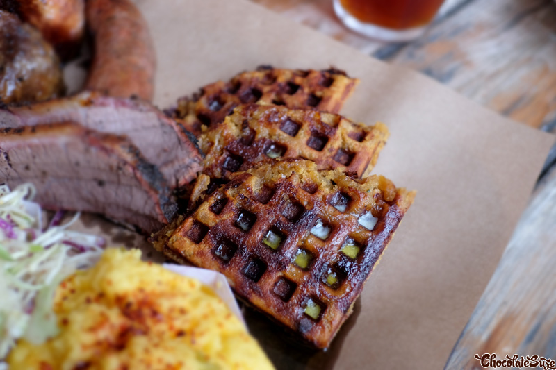 Cheeseymite Cornbread Waffles at Bluebonnet Barbecue, North Fitzroy