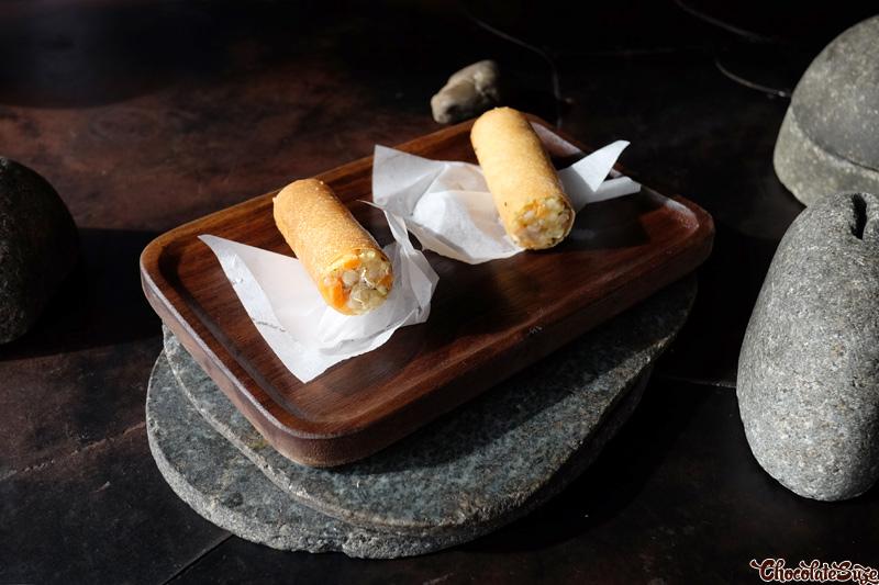 Chiko Roll, fermented barley, roasted buckwheat mayo at Vue de monde, Melbourne