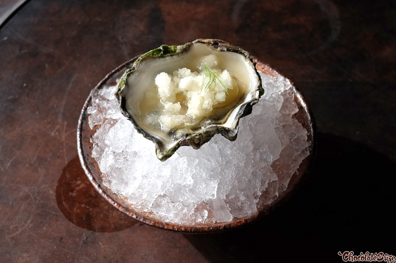 Moonlight flat, rusty wire oysters, green grapes at Vue de monde, Melbourne