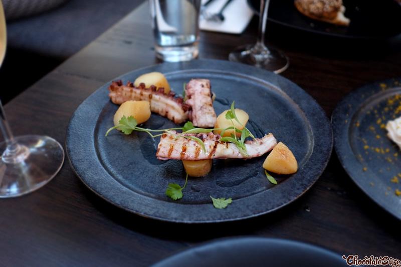 Octopus with Kipfler potatoes and paprika at Broadsheet Restaurant, Waterloo