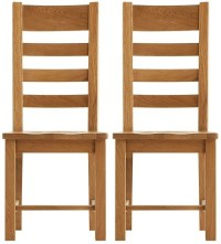 Oakley Rustic Dining Chair Ladder Back Wooden Seat Pair