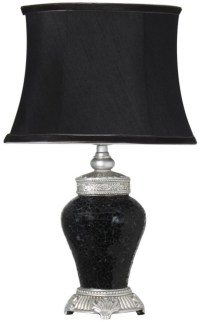 Rogue Black Sparkle Mosaic Antique Silver Lamp with Silver ...