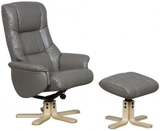 Buy Gfa Shanghai Grey Bonded Leather Swivel Recliner Chair