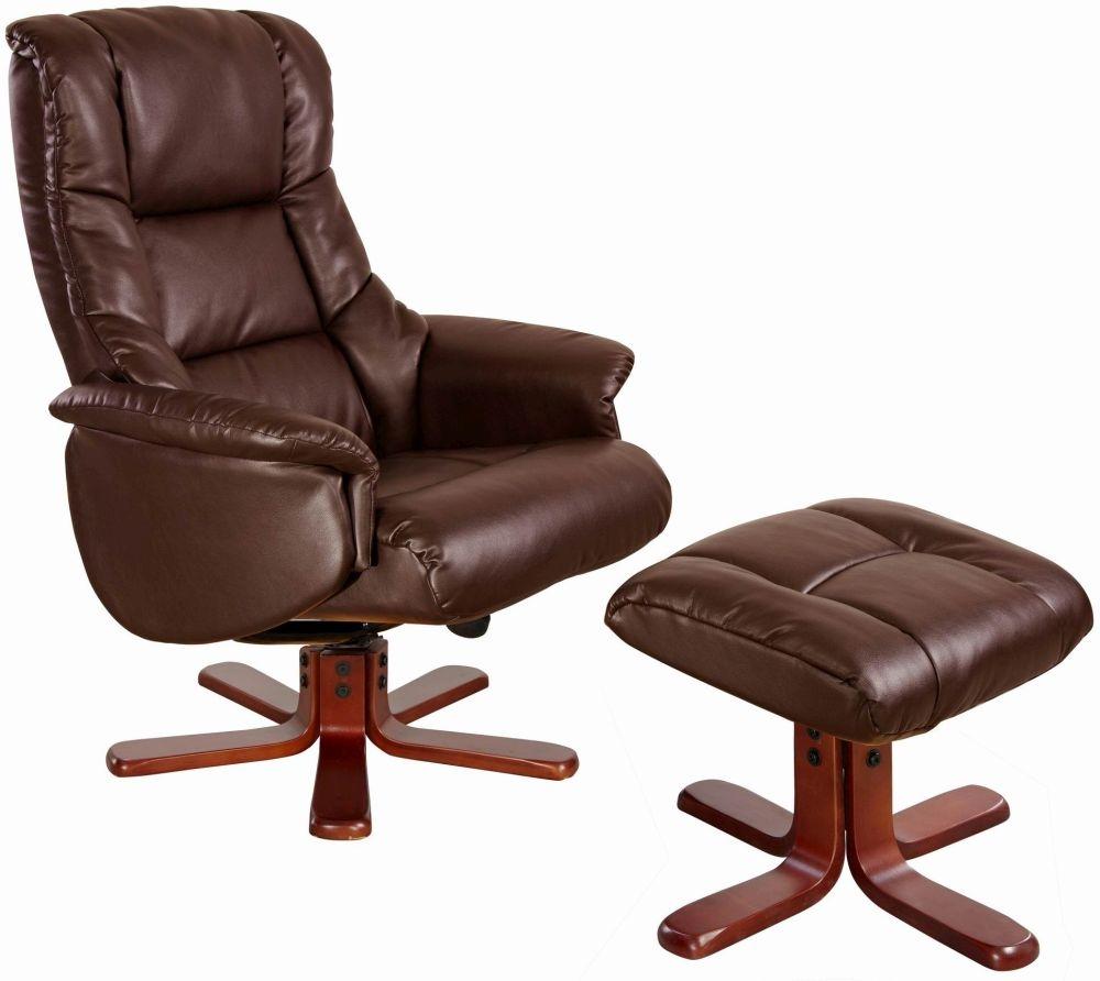 Buy GFA Shanghai Nut Brown Bonded Leather Swivel Recliner