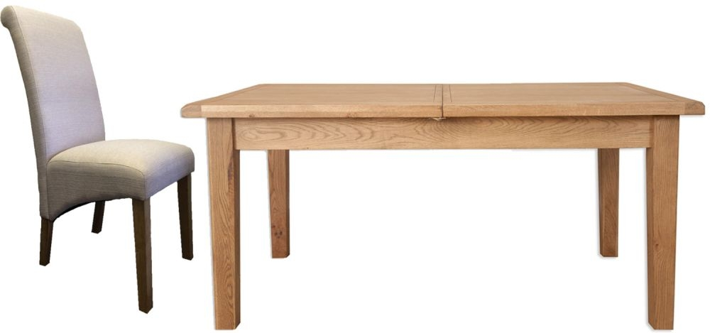 Buy Perth Country Oak Dining Set With 8 Fabric Chairs