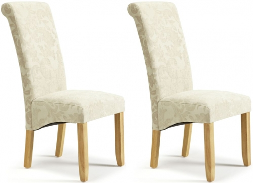 Buy Serene Kingston Cream Floral Fabric Dining Chair With