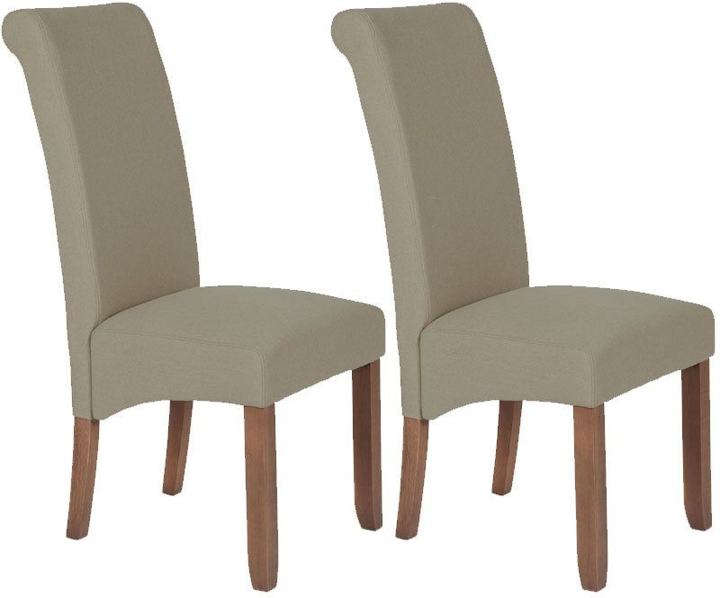 Serene Kingston Natural Plain Fabric Dining Chair With