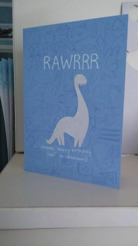 blue dinosaur birthday card rawrrr