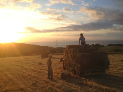 August: Helping Mum and Dad load hay on a beautiful evening in North Devon