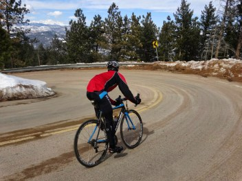 Bryan on the top of Flagstaff - sandy roads at the moment