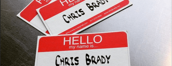 Hello My Name Is Chris Brady business card