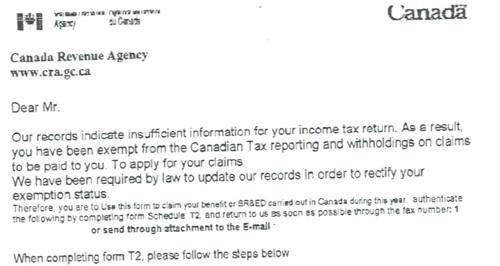 Canada Revenue Agency Scam