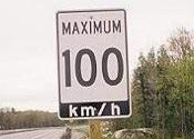100 km/h Highway Sign