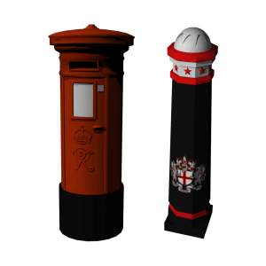 London-style postbox and bollard models created and textured by me using Maya.