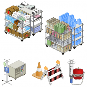 2.5D hospital evac simulation sprites created by me using Inkscape.