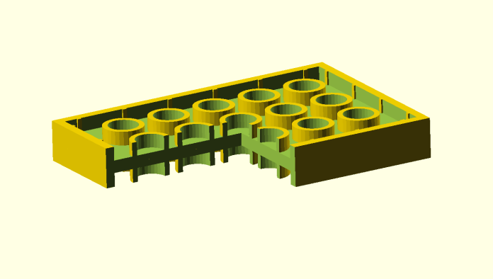 A cross-section of a female dual-sided plate.